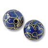 Machine Made Cloisonne Bead 10mm Round Dark Blue (1-Pc)
