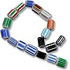Assorted Chevron Glass Beads 6-8mm (16