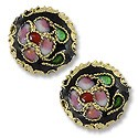 Machine Made Cloisonne Bead 14mm Round Pillow Black (1-Pc)