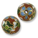 Handmade Cloisonne Bead 10mm Round Red/Green/Blue (1-Pc)