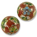 Handmade Cloisonne Beads 16mm Red/Green/White (1-Pc)