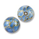 Handmade Cloisonne Beads 12mm Round Light Blue (1-Pc)