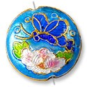Handmade Cloisonne Puffed Round Bead 18mm Light Blue/Pink Butterfly (1-Pc)