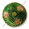 Handmade Cloisonne Puffed Round Bead 18mm Green/Pink Swirl (1-Pc)