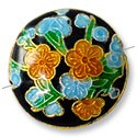 Handmade Cloisonne Puffed Round Bead 20mm Black/Blue/Tan (1-Pc)