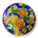 Handmade Cloisonne Puffed Round Bead 20mm Cobalt/Tan/Green Flowers (1-Pc)