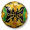 Handmade Cloisonne Puffed Round Bead 20mm Black/Gold/Green (1-Pc)