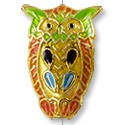 Handmade Cloisonne Owl Bead 23x16mm Orange/Green/Gold (1-Pc)