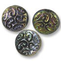 Czech Pressed Glass Button Bead 13mm Jet AB (1-Pc)