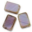 Czech Glass Flat Rectangle 12x8mm Opaque Lt. Amethyst Traver. (3-Pcs)
