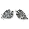 Hook and Eye Clasp Leaf 50x16mm Sterling Silver (1-Pc)