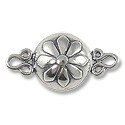 Flower Magnetic Clasp 12mm Sterling Silver (1-Pc)