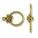 Clasp - Toggle with Flower 14mm Pewter Antique Gold Plated (Set)