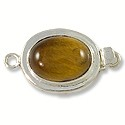 Designer Clasp Oval Tiger Eye Sterling Silver Filled (1-Pc)