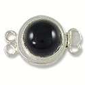 Designer Clasp 2 Strand Black Stone Sterling Silver Filled (1-Pc)