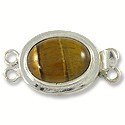 Designer Clasp 2 Strand Oval Tiger Eye Sterling Silver Filled (1-Pc)