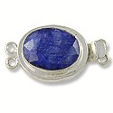 Designer Clasp 2 Strand Faceted Oval Dyed Sapphire Sterling Silver Filled (1-Pc)