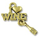 Charm - I Love Wine 21x15mm Pewter Antique Gold Plated (1-Pc)