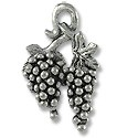 Charm - Grapes 17x12mm Pewter Antique Silver Plated (1-Pc)