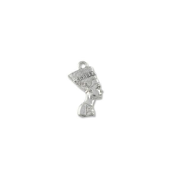 Charm - Nefertiti 21x14mm Pewter Antique Silver Plated (1-Pc)