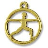 Charm - Yoga Warrior Pose 16mm Pewter Antique Gold Plated (1-Pc)
