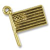 Charm - American Flag 15mm Pewter Antique Gold Plated (1-Pc)
