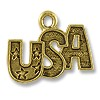 Charm - USA with Stars 12x18.5mm Pewter Antique Gold Plated (1-Pc)