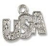 Charm - USA with Stars 12x18.5mm Pewter Antique Silver Plated (1-Pc)