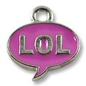 Charm - LOL (Laugh Out Loud) 15x13mm Pewter ASP (1-Pc)