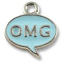 Charm - OMG 15x13mm Pewter Antique Silver Plated (1-Pc)