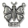 "Charm - Butterfly ""Best"" 21x18mm Pewter Antique Silver Plated (1-Pc)"