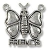 "Charm - Butterfly ""Friends"" 19x20mm Pewter Antique Silver Plated (1-Pc)"