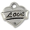 Charm - Love Heart 15x14mm Pewter Antique Silver Plated (1-Pc)