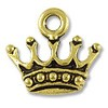 Charm - King's Crown 15x14mm Pewter Antique Gold Plated (1-Pc)