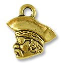 Charm - Pirate 16x14mm Pewter Antique Gold Plated (1-Pc)