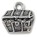 Charm - Treasure Chest 14x15mm Pewter Antique Silver Plated (1-Pc)