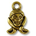 Charm - Pirate Skull 16x11mm Pewter Antique Gold Plated (1-Pc)