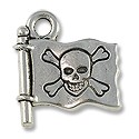 Charm - Jolly Roger 16x15mm Pewter Antique Silver Plated (1-Pc)