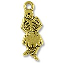 Charm - Dancing Se�orita 27x10mm Pewter Antique Gold Plated (1-Pc)