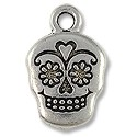 Charm - Sugar Skull 18x12mm Pewter Antique Silver Plated (1-Pc)