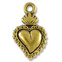 Charm - Sacred Heart Milagro 21x13mm Pewter Antique Gold Plated (1-Pc)