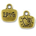 Charm - Love 14x13mm Pewter Antique Gold Plated (1-Pc)