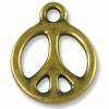 Charm - Peace Sign 15mm Pewter Antique Brass Plated (1-Pc)