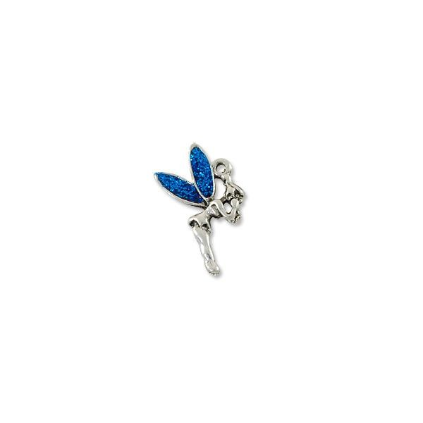 Charm - Fairy Blue 12x19mm Pewter Antique Silver Plated (1-Pc)