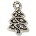 Charm - Christmas Tree 20x12mm Pewter Antique Silver Plated (1-Pc)