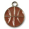 Hand Painted Basketball Charm 13x16mm Pewter Antique Silver Plated (1-Pc)
