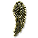 Wing Charm 27x10mm Pewter Antique Brass Plated (1-Pc)