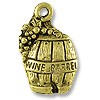 Charm - Wine Barrel w/ Grape 11x6mm Pewter Antique Gold Plated (1-Pc)
