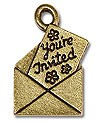 Charm - Invitation 16x12mm Pewter Antique Gold Plated (1-Pc)