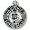 Charm - Bead Happy 17x16mm Pewter Antique Silver Plated (1-Pc)